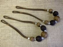 2 Brown abacus curtain tiebacks. Ball & crystal tie backs 80cm long